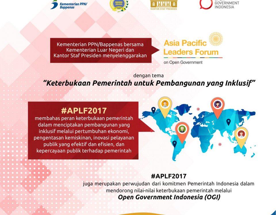Sebagai salah satu bentuk komitmen untuk mewujudkan keterbukaan pemerintah, menyelenggarakan Asia Pacific Leaders Forum on Open Government 2017 (APLF 2017).